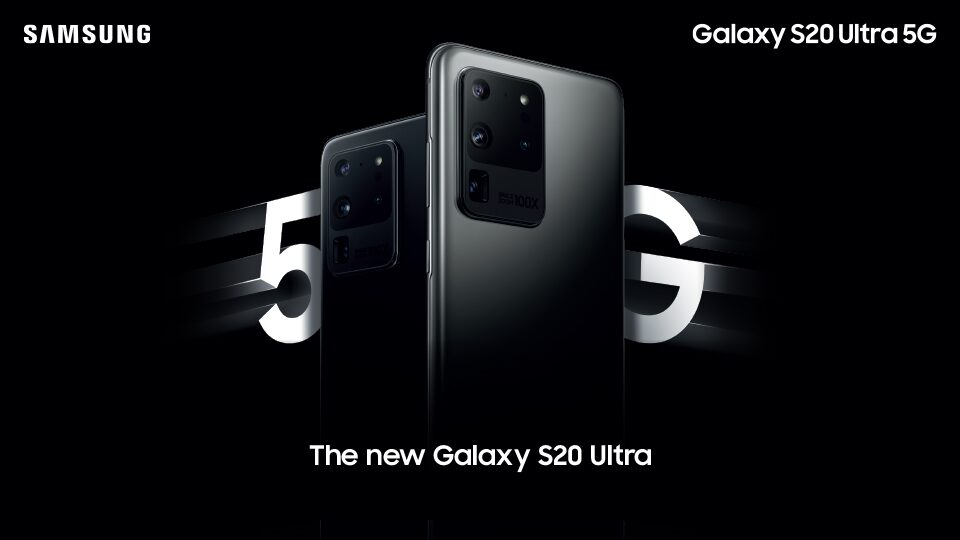 The Samsung Galaxy S20 Ultra 5G with 5G in the background